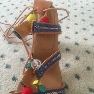Lulus Pom-Pom Sandal Heels